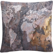 Trademark Fine Art World Map Rock Decorative Throw Pillow