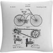 Trademark Fine Art Bicycle Patent 1890 White Decorative Throw Pillow