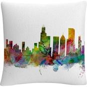 Trademark Fine Art Chicago Illinois Skyline Decorative Throw Pillow