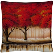 Trademark Fine Art Parade of Red Trees II Decorative Throw Pillow