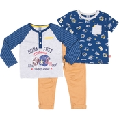 Little Lads Toddler Boys Born Free 3 pc. Henley Top Set