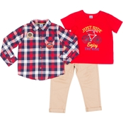 Little Lads Toddler Boys Just Ride 3 pc. Woven Shirt Set