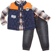 INFANT BOYS 3PC TWILL PLAID PUFFER VEST SET