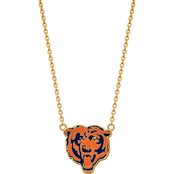 Sterling Silver Gold Plated Chicago Bears Large Enamel Pendant with Necklace