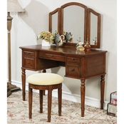 Furniture of America Natalia Vanity with Mirror and Stool