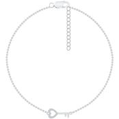 Sterling Silver Diamond Accent Fashion Key Anklet