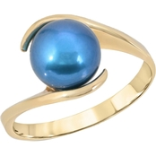 Black  Pearl Bypass Ring 14K  Yellow Gold