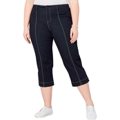Avenue Plus Size Contrast Stitch Trim Capri Pants