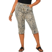 Avenue Plus Size Cheetah Print 5 Pocket Wanna Betta Butt Capri Jeans