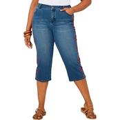 Avenue Plus Size Total Solutions Tigerlily Embroidered Capri Jeans
