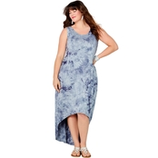 Avenue Plus Size Caged Back Blue Tie Dye Hi Lo Dress