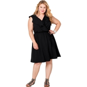 Avenue Plus Size Ruffled V Neck Dress