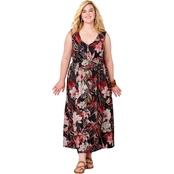 e8620268f37ec Avenue Plus Size Tropical Print Sheath Maxi Dress