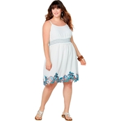Avenue Plus Size Floral Applique Gauze Dress