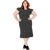 Avenue Plus Size Puff Dot Print Dress