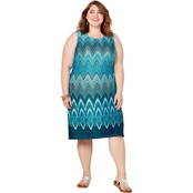 Avenue Plus Size Blue Bargello Print A-Line Dress