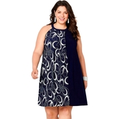 Avenue Plus Size Navy Puff Print Halter Neck Dress
