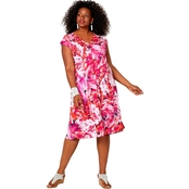 Avenue Plus Size Red and Pink Abstract Print Fit and Flare Dress