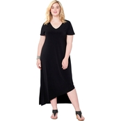 Avenue Plus Size Asymmetrical Hem Maxi Dress