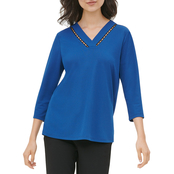 Calvin Klein Long Sleeve V-neck Top with Bead Detail