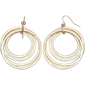 jules b Goldtone Hammered Orbital Drop Earrings