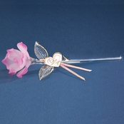 Glass Baron Handcrafted Pink Rose Glass Art