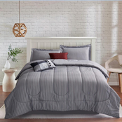 Brown & Grey Kincaid Grey 6-Piece Comforter Set, Queen