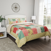 3-Piece Sweet Dreams Patchwork Pastel Floral Print Quilt Set by LHC (Full/Queen)