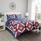 Lavish Home Homestead Patriotic Americana 3 Pc. Quilt Set