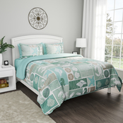 Lavish Home Harbor Town Veranda Design Quilt Bedspread 3 pc. Set