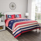 Lavish Home Glory Bound Patriotic Americana Flag Print 3 pc. Quilt Set