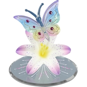 Glass Baron Butterfly and Lavender Lily Figurine