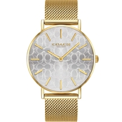 COACH Women's Perry Gold Plated Watch with Etched Signature C Dial 14503385