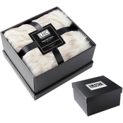 Faux Wolf Fur Throw Blanket and Gift Box 60x70