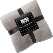 Poly Fleece Sherpa Throw Blanket (Stone and White)