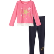 Pony Tails Girls Jersey Hangdown Top and Jeggings 2 pc. Set