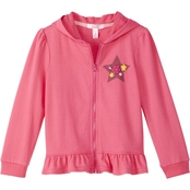 Pony Tails Little Girls French Terry Zip Hoodie with Glitter Floral Star