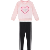 Pony Tails Little Girls Faux Fur Top and French Terry Leggings 2 pc. Set