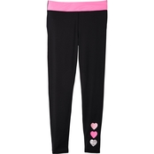 Pony Tails Little Girls Active Leggings with Foil Hearts