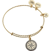 Alex and Ani Embossed Paint Charm Compass Expandable Wire Bangle
