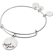 Alex and Ani Shiny Silvertone Squad Ghouls Expandable Wire Bangle Bracelet