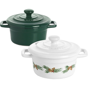 Martha Stewart Collection Pinecone and Green Stoneware Cocottes 2 pc. Set