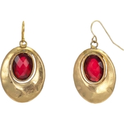 Carol Dauplaise Goldtone Red Oval Earring