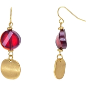 Carol Dauplaise Goldtone Red Disc Earring