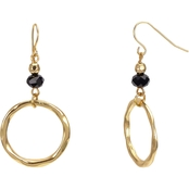 Carol Dauplaise Goldtone Black Bead Hoop Earring