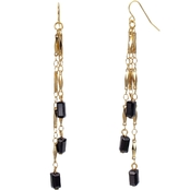 Carol Dauplaise Goldtone Triple Linear Black Bead Earring.