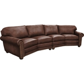 Omnia Italian Dominion Leather Conversation Sofa