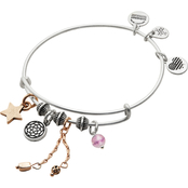 Alex and Ani Silvertone New Beginnings Cluster Bangle Bracelet