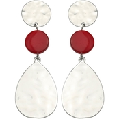 Jules b. Hammered Silver Tone Red Shell Linear Earrings