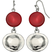 Jules b. Silver Tone Red Shell Disk Double Drop Earrings